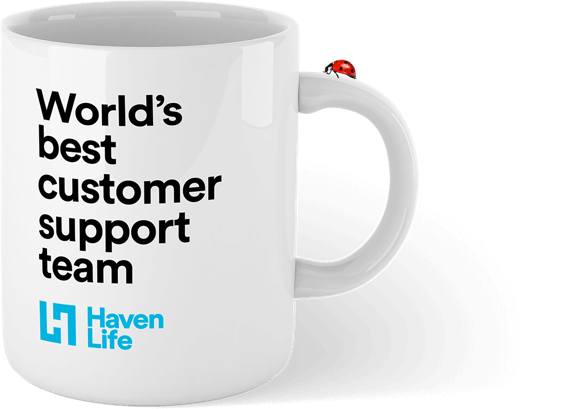 White coffee mug with the sentence 'World's best customer support team' printed on the front